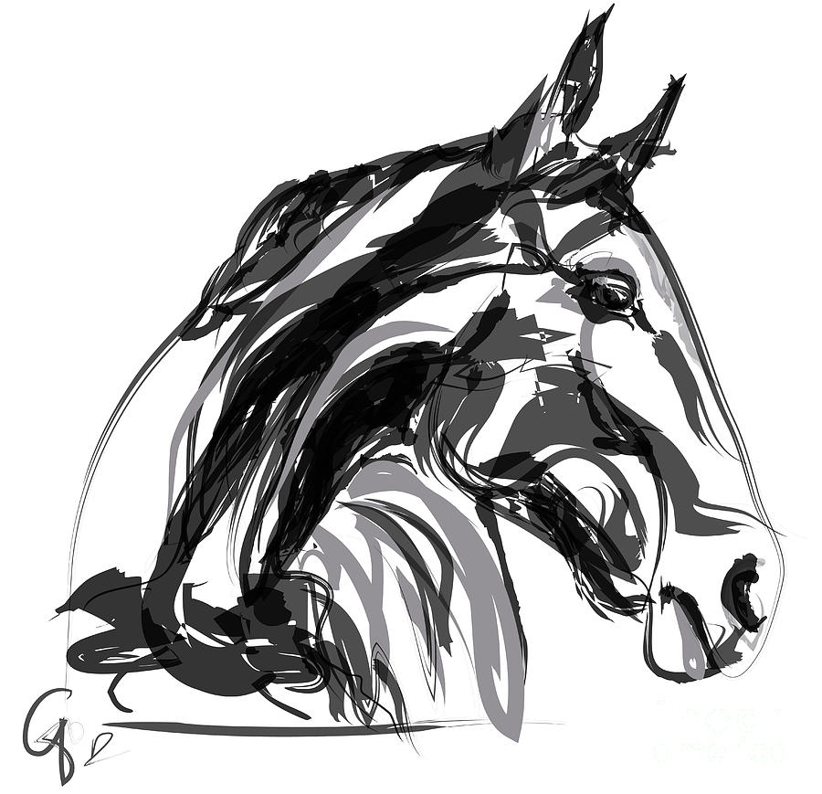 Horse apple digi black and white painting by go van kampen for White and black paintings