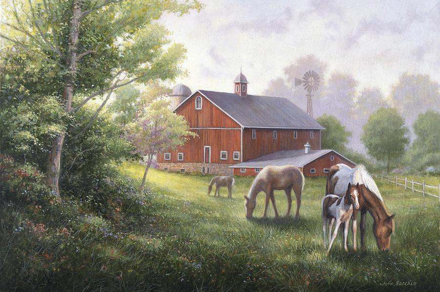 Horse Painting - Horse Barn by John Zaccheo