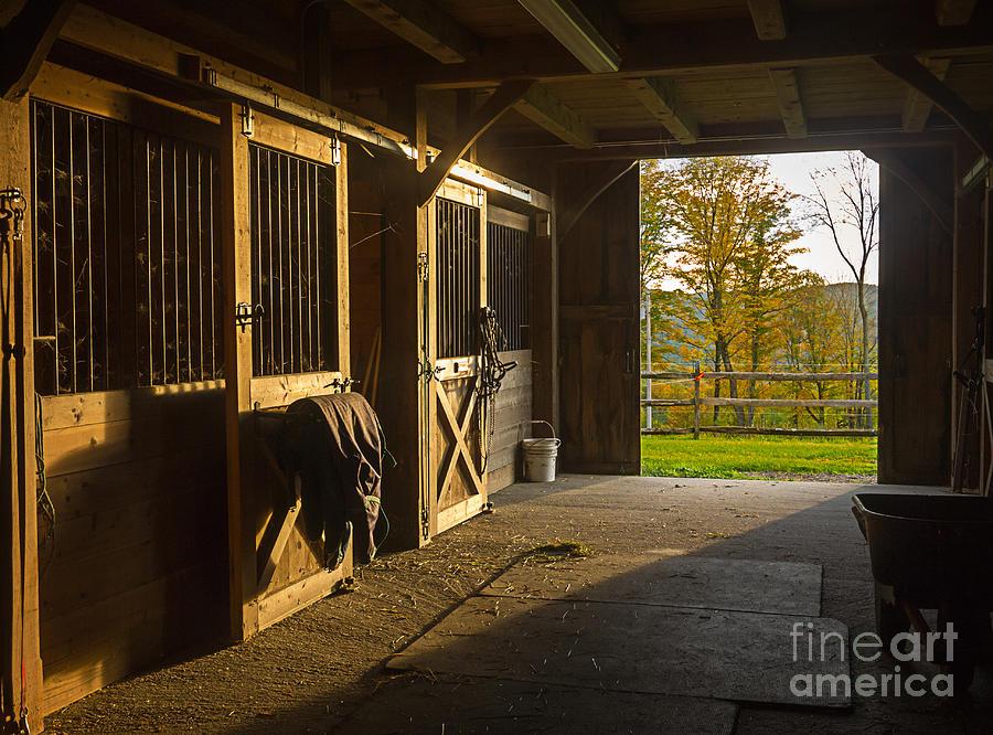 Horse Photograph - Horse Barn Sunset by Edward Fielding