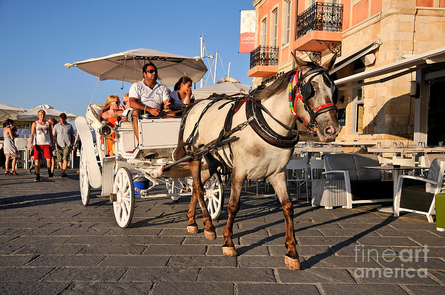 Prints Photograph - Horse Carriage At The Old Port Of Chania by George Atsametakis