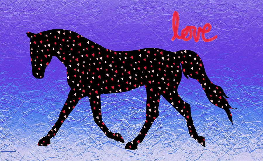 Horse Digital Art - Horse Hearts And Love by Patricia Barmatz