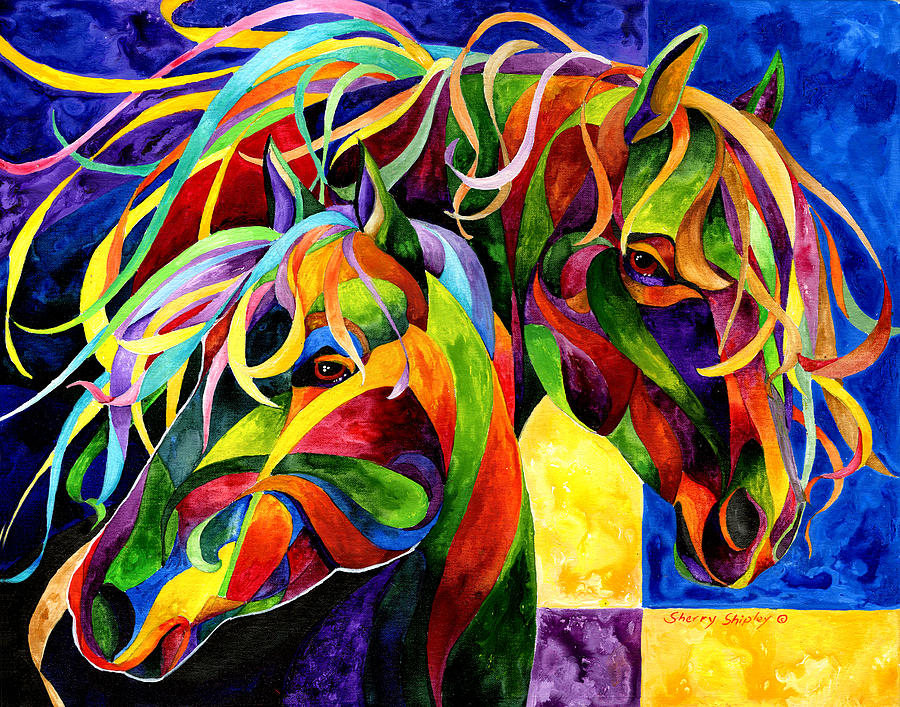 Horse Painting - Horse Hues by Sherry Shipley