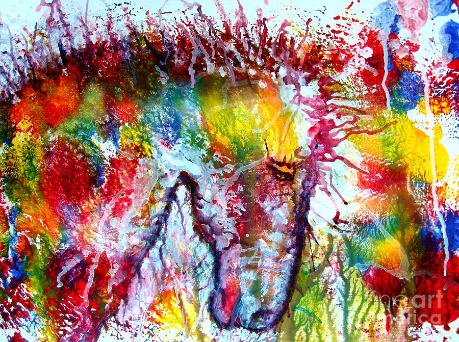 Horse Painting - Horse In Abstract by Anastasis  Anastasi