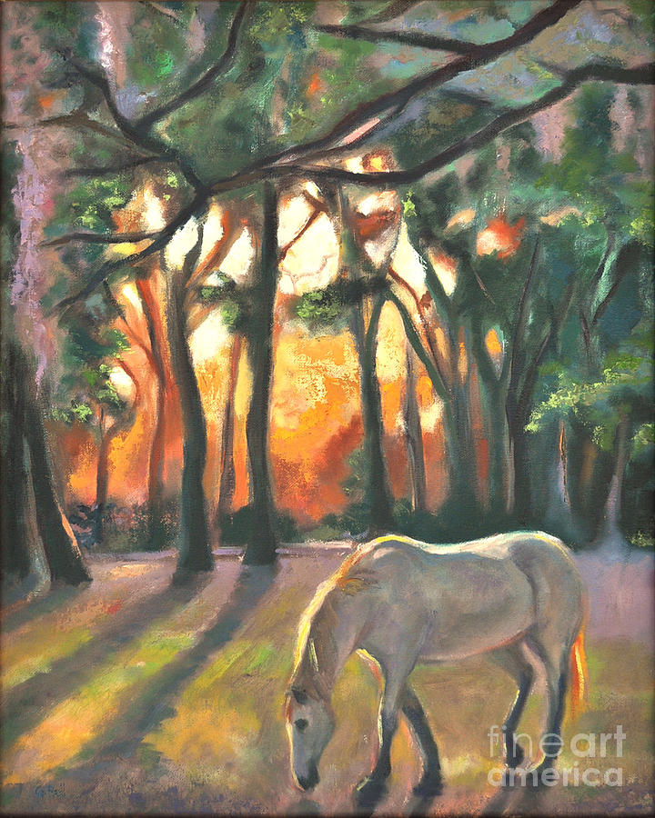 Landscape Painting - Horse In Sunset by Gayle Bell