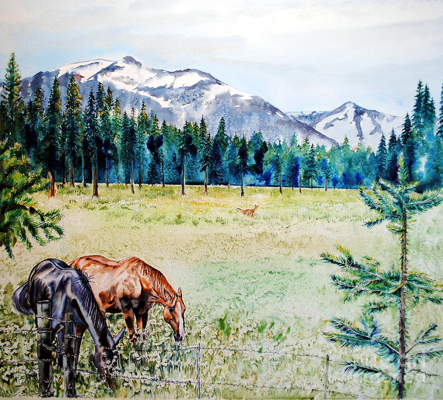 Watercolor Painting - Horse Meadow by Tracy Rose Moyers