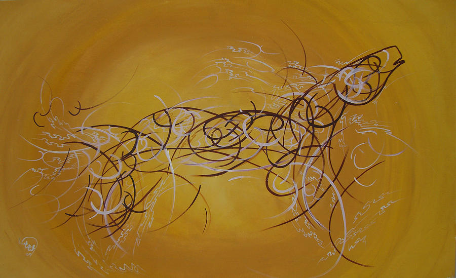 Horse Painting - Horse Moving Lines by Ali ArtDesign