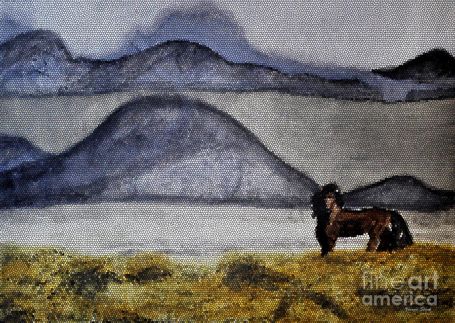 Watercolors Mixed Media - Horse Of The Mountains With Stained Glass Effect by Verana Stark