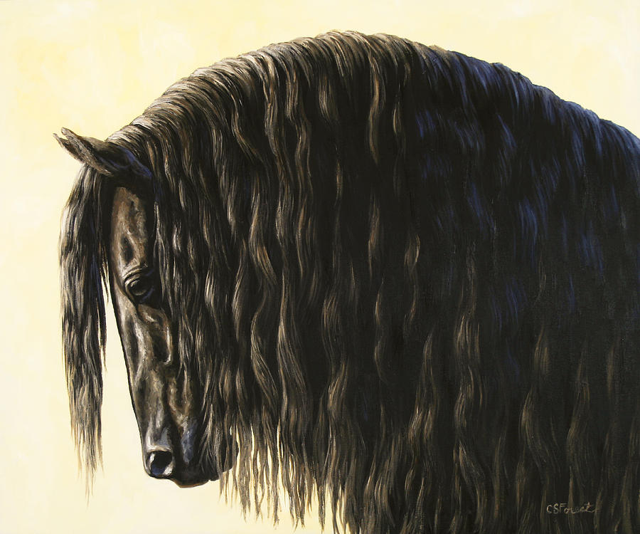 Horse Painting - Horse Painting - Friesland Nobility by Crista Forest