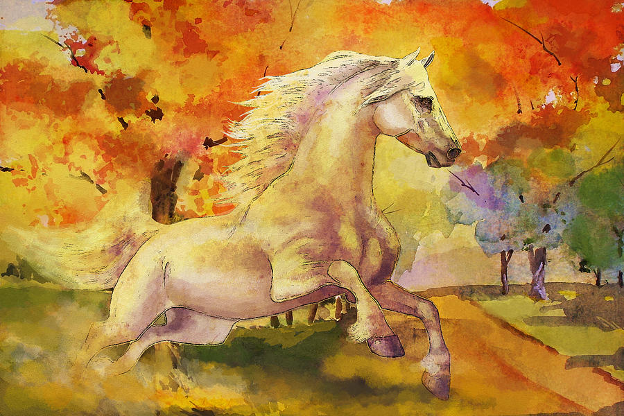 Horse Painting - Horse Paintings 003 by Catf