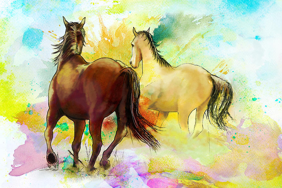 Horse Painting - Horse Paintings 009 by Catf