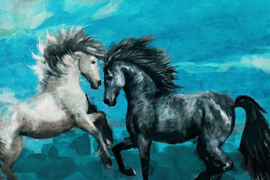 Horse Painting - Horse Paintings 011 by Catf