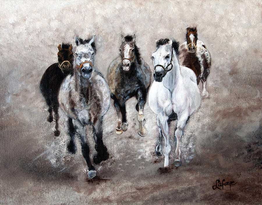 Horse Painting - Horse Paintings Horse Art Equine Art Storms Comin by Robert Lafaye