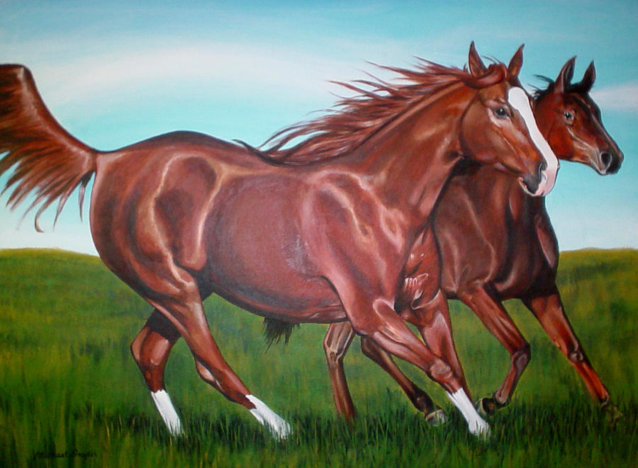 Horses Painting - Horse Play by Michael Snyder