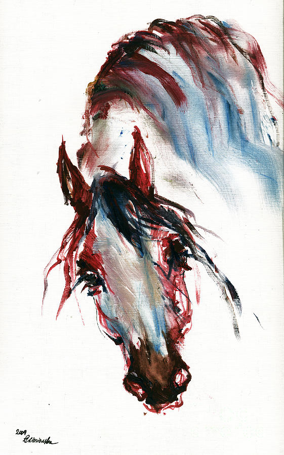 Horse Painting - Horse Portrait by Angel  Tarantella
