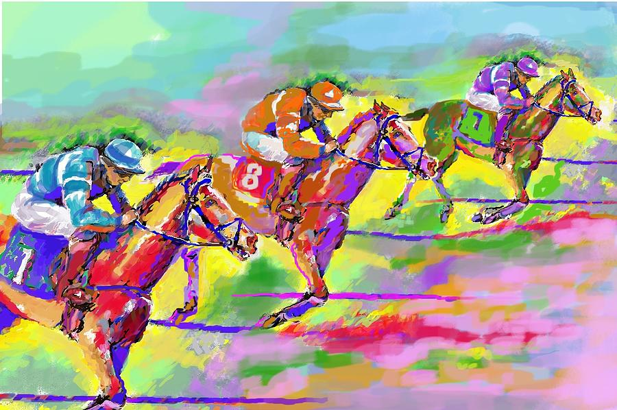 Horse Digital Art - Horse Race  Three by Mary Armstrong