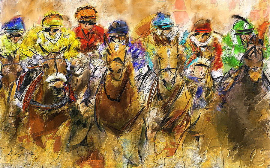 Horse Racing Abstract Painting