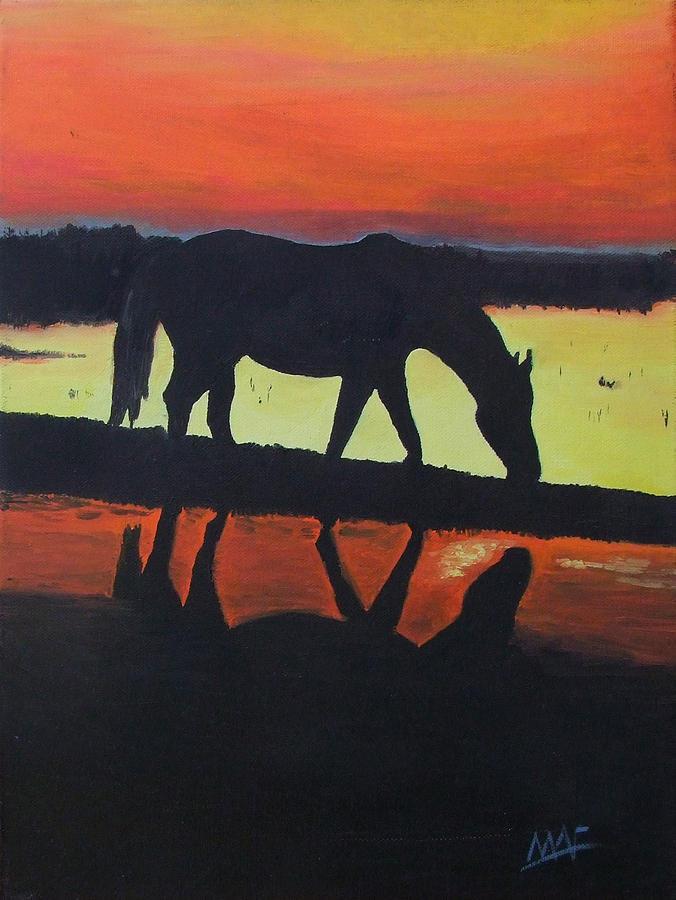 Horses Painting - Horse Shadows by Mark Fluharty