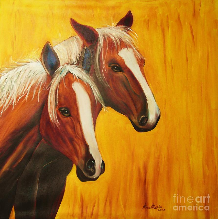 Horses Painting - Horses by Anastasis  Anastasi