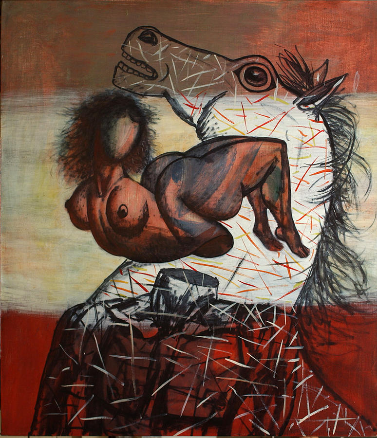 Horses And People Painting by Karen Aghamyan