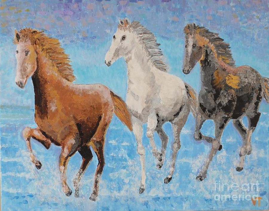 Horses Painting - Horses From Troy by Vicky Tarcau