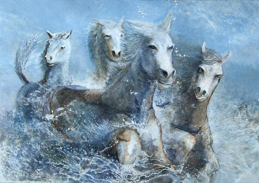 Horses Painting - Horses Having Fun by Theo Brush