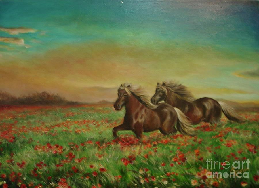 Horses In The Field With Poppies Painting
