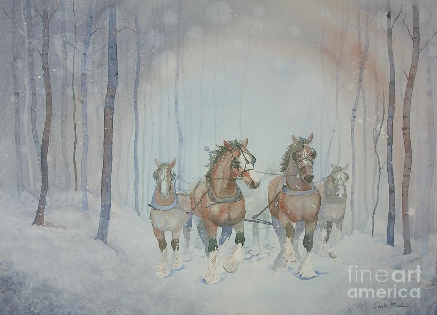 Horses Painting - Horses In The Snow by Paula Marsh