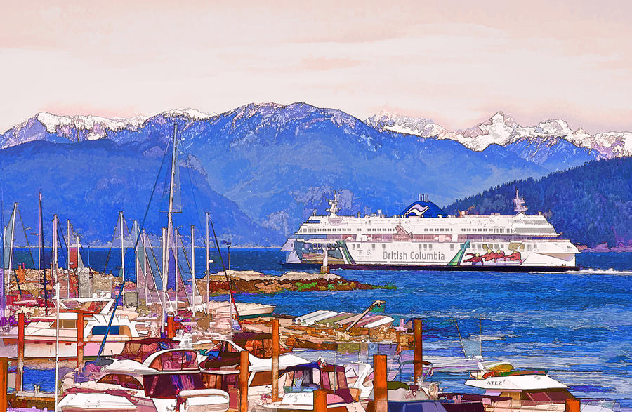 Ferry Photograph - Horseshoe Bay Ferry by Peggy Collins