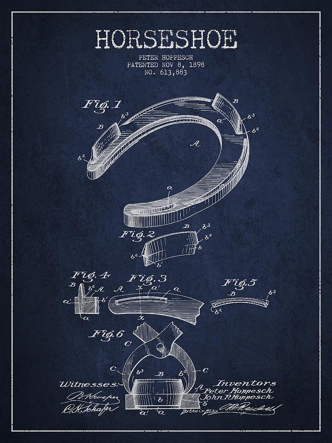 Horseshoe Digital Art - Horseshoe Patent Drawing From 1898 by Aged Pixel