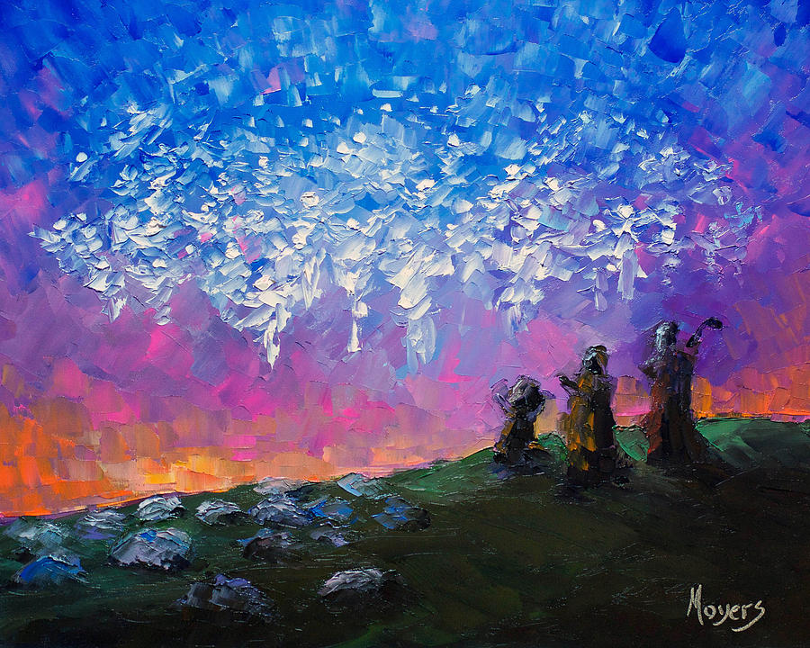 8x10 Painting - Host of Angels by Mike Moyers