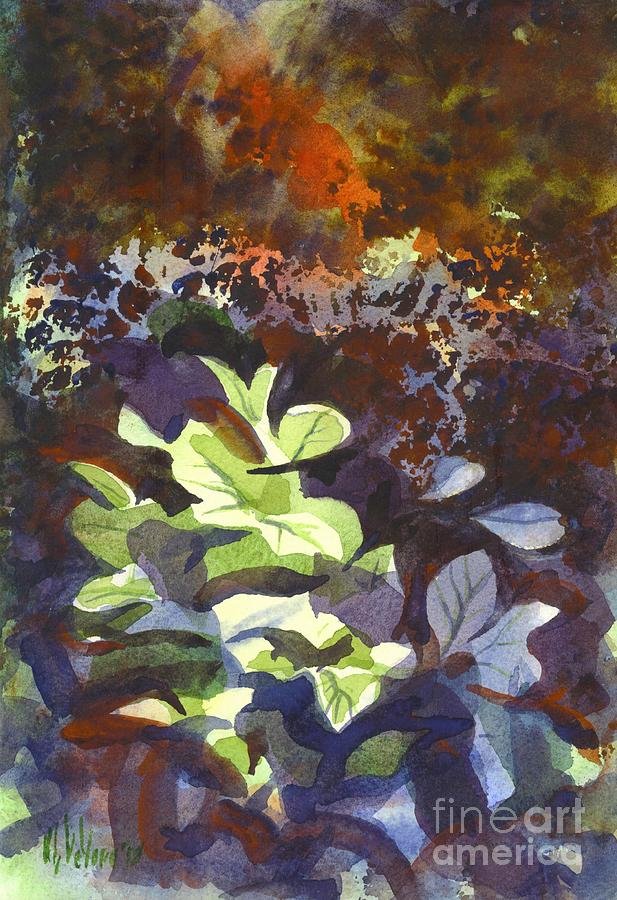 Hostas In The Forest Painting - Hostas In The Forest by Kip DeVore