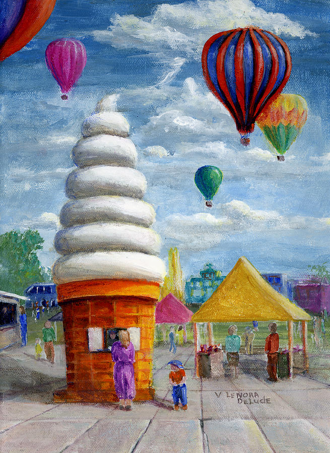 Hot Air Balloon Carnival And Giant Ice Cream Cone Painting