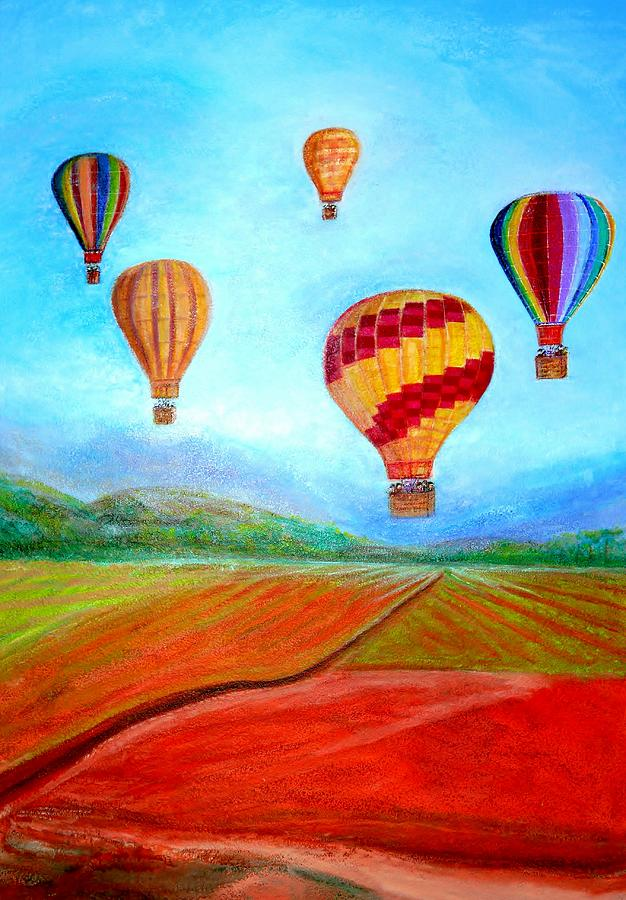 Hot Air Balloon Ride Colorful Digital Art - Hot Air Balloon Mural  by Anais DelaVega