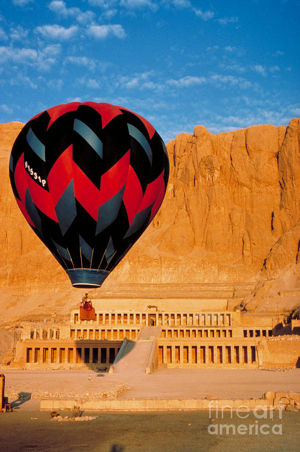 Travel Photograph - Hot Air Balloon Over Thebes Temple by John G Ross