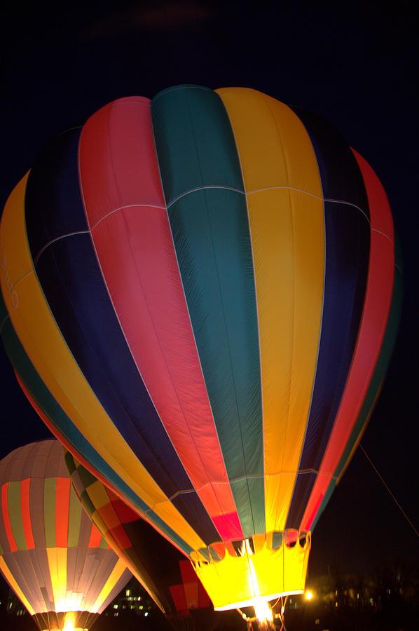 Hot Air Balloon Photograph - Hot Air Balloon Up Up Glow by Kathy Bassett