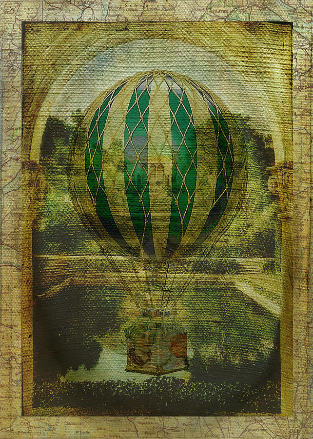 Bon Voyage Digital Art - Hot Air Balloon Voyage by Sarah Vernon