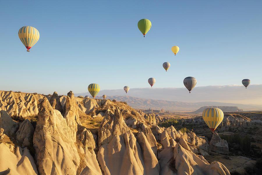 Hot Air Balloons At Dawn, Cappadocia Photograph by David Clapp
