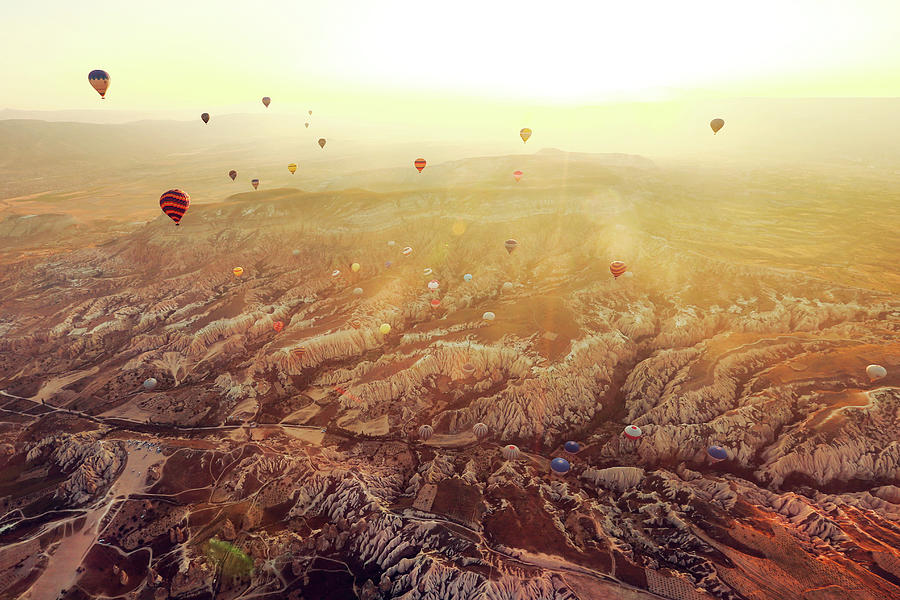 Hot Air Balloons Flying Over Photograph by Unic