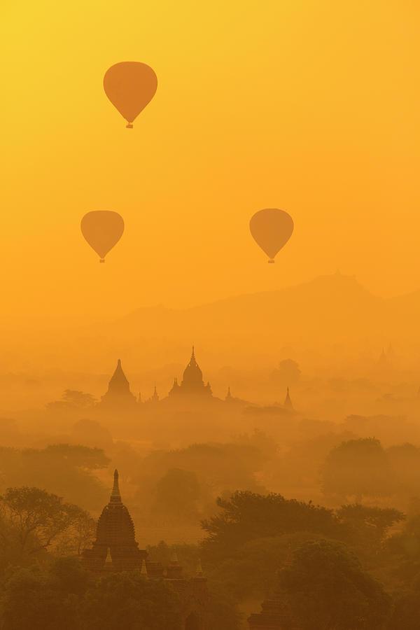 Hot Air Balloons In Bagan, Myanmar Photograph by Uchar