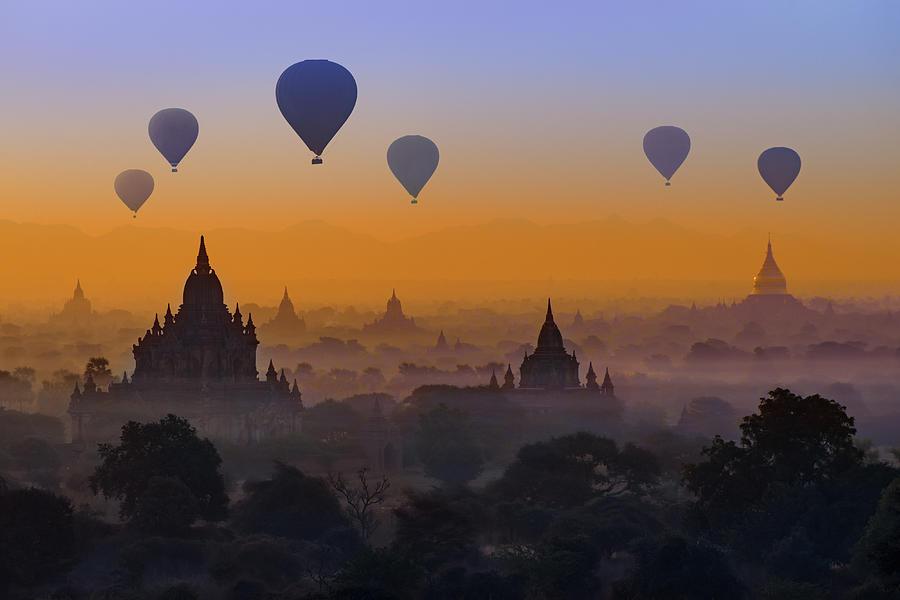 Hot Air Balloons In Bagan, Myanmar by Ugurhan Betin