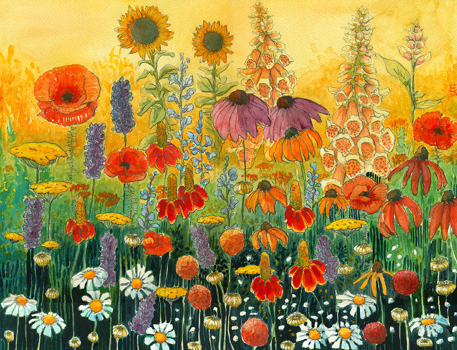 Mexican Hat Flower Painting - Hot And Hazy by Katherine Miller