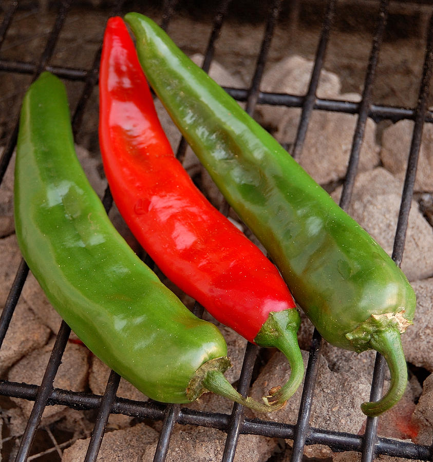 Mexican Photograph - Hot And Spicy - Chiles On The Grill by Steven Milner
