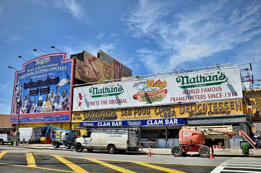 Coney Island Photograph - Hot Dogging It To Opening Day by Tony Ambrosio