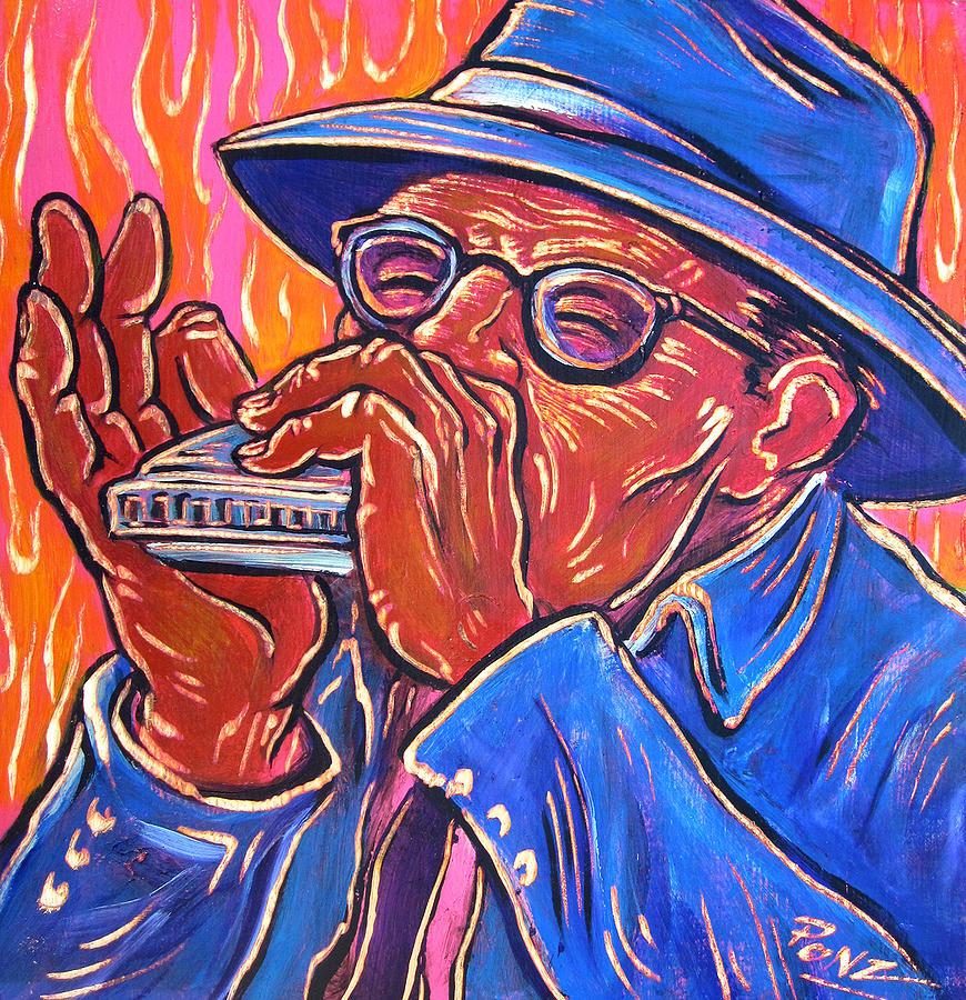 Blues Painting - Hot Harp by Robert Ponzio
