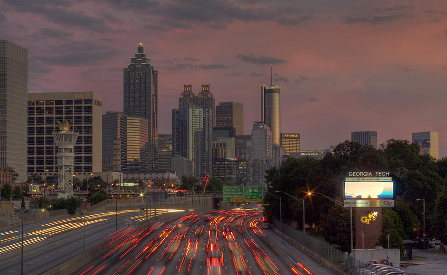 Atlanta Photograph - Hot lanta Nightfall by Stephen Gray