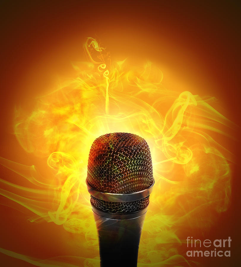 Text Area Photograph - Hot Music Microphone Burning by Angela Waye