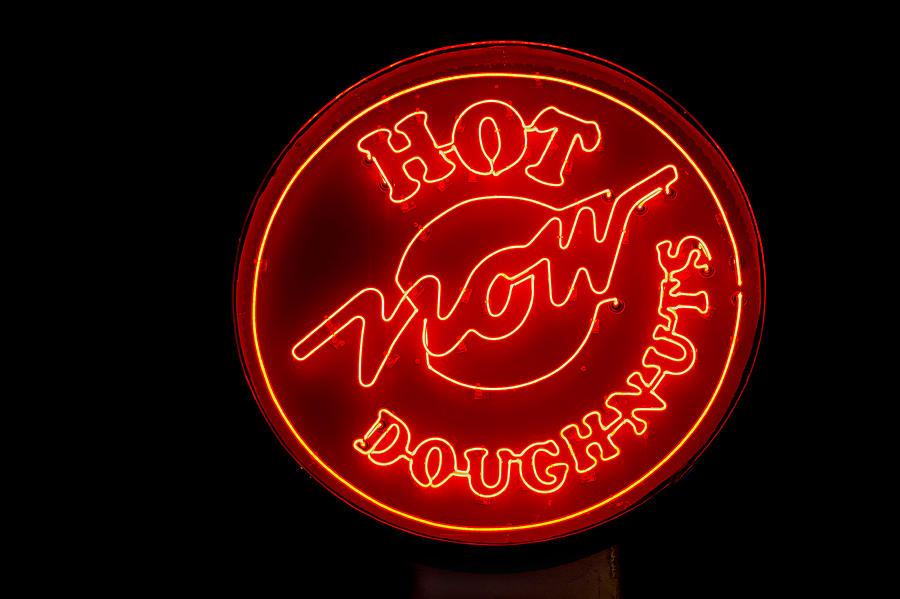Krispy Kreme Photograph - Hot Now Krispy Kreme by Jerry Gammon