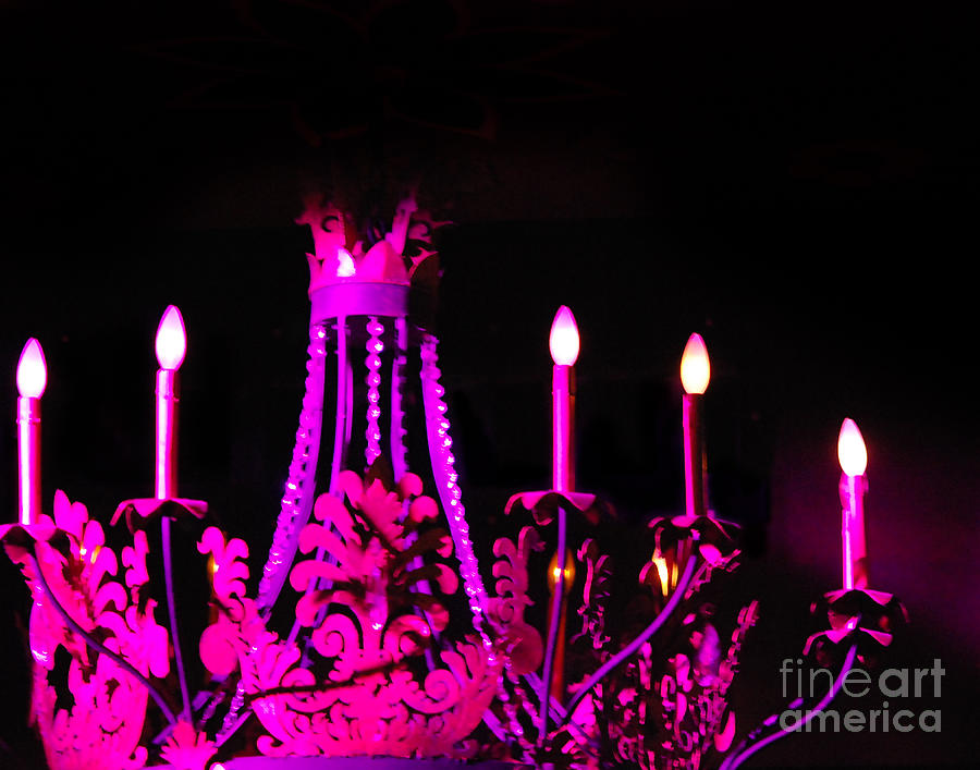 Still Life Photograph - Hot Pink Chandelier by Sonja Quintero