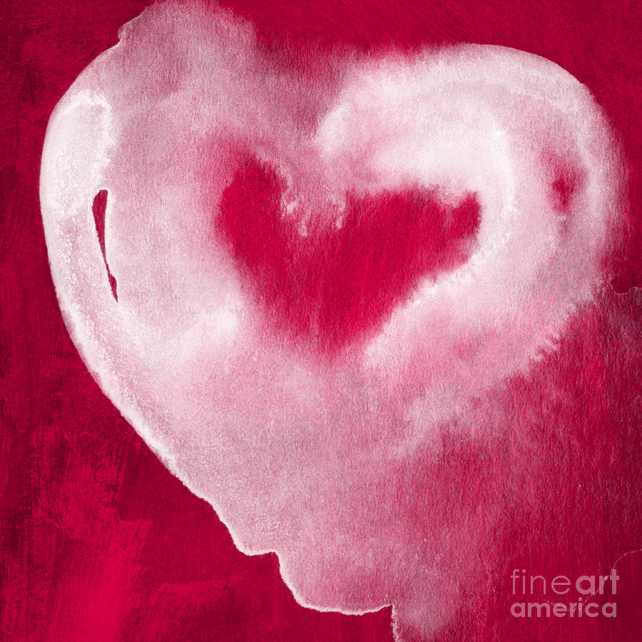 Valentine Mixed Media - Hot Pink Heart by Linda Woods