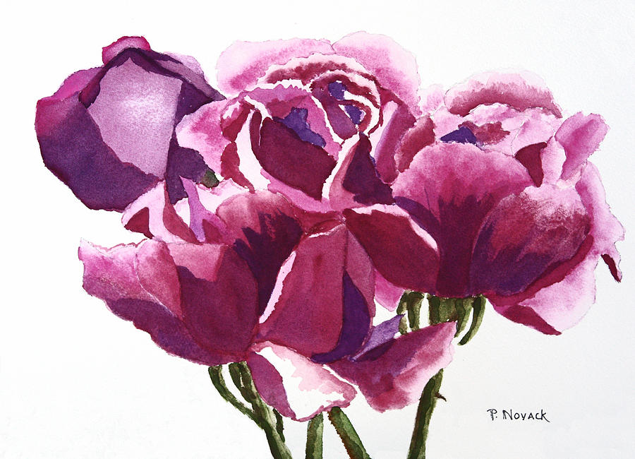 Flower Painting - Hot Pink Roses by Patricia Novack